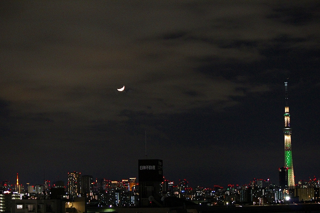 月とクリスマスライトアップ:フェイスブック版より